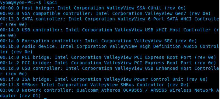 دستور lspci مشخصات درگاه های PCI در لینوکس